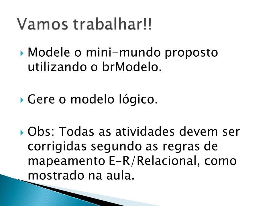 Vamos trabalhar!! Modele o mini-mundo proposto utilizando o brModelo.