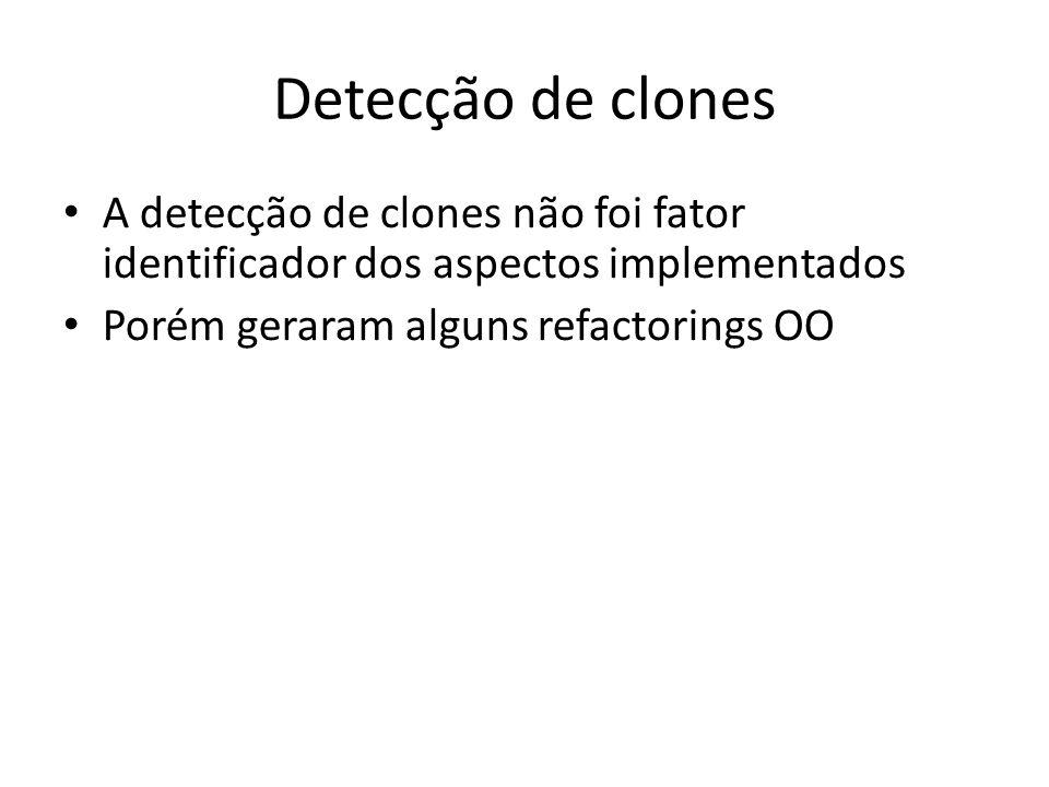 Detecção de clones A detecção de clones não foi fator identificador dos aspectos implementados.