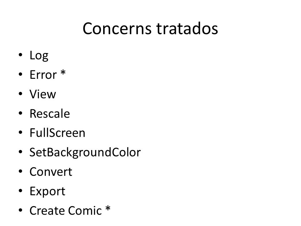 Concerns tratados Log Error * View Rescale FullScreen