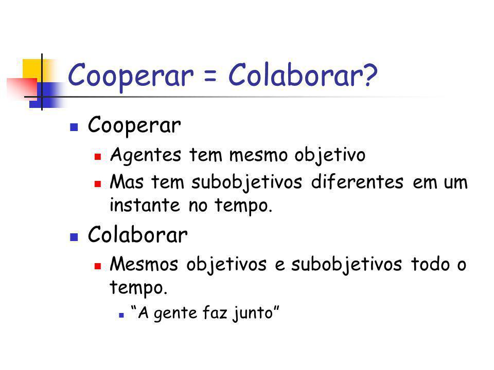 Cooperar = Colaborar Cooperar Colaborar Agentes tem mesmo objetivo