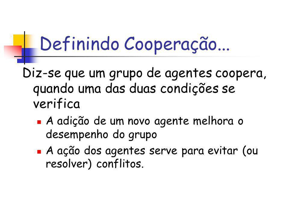 Definindo Cooperação... Diz-se que um grupo de agentes coopera, quando uma das duas condições se verifica.