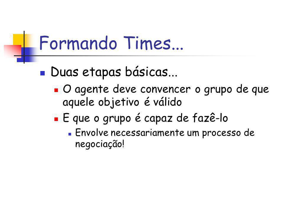 Formando Times... Duas etapas básicas...