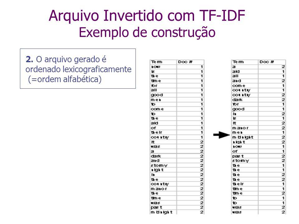 Arquivo Invertido com TF-IDF Exemplo de construção