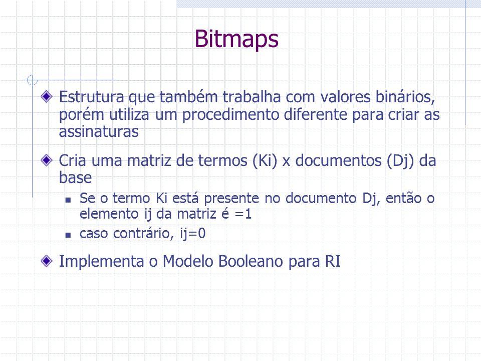 Bitmaps Estrutura que também trabalha com valores binários, porém utiliza um procedimento diferente para criar as assinaturas.