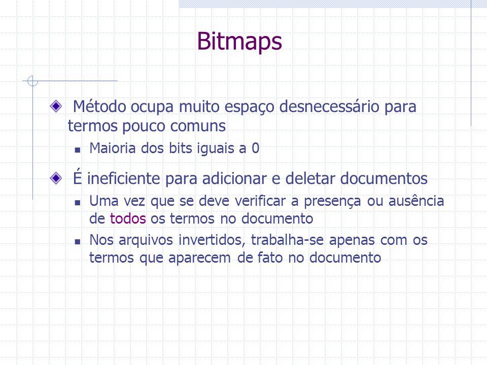 Bitmaps Método ocupa muito espaço desnecessário para termos pouco comuns. Maioria dos bits iguais a 0.