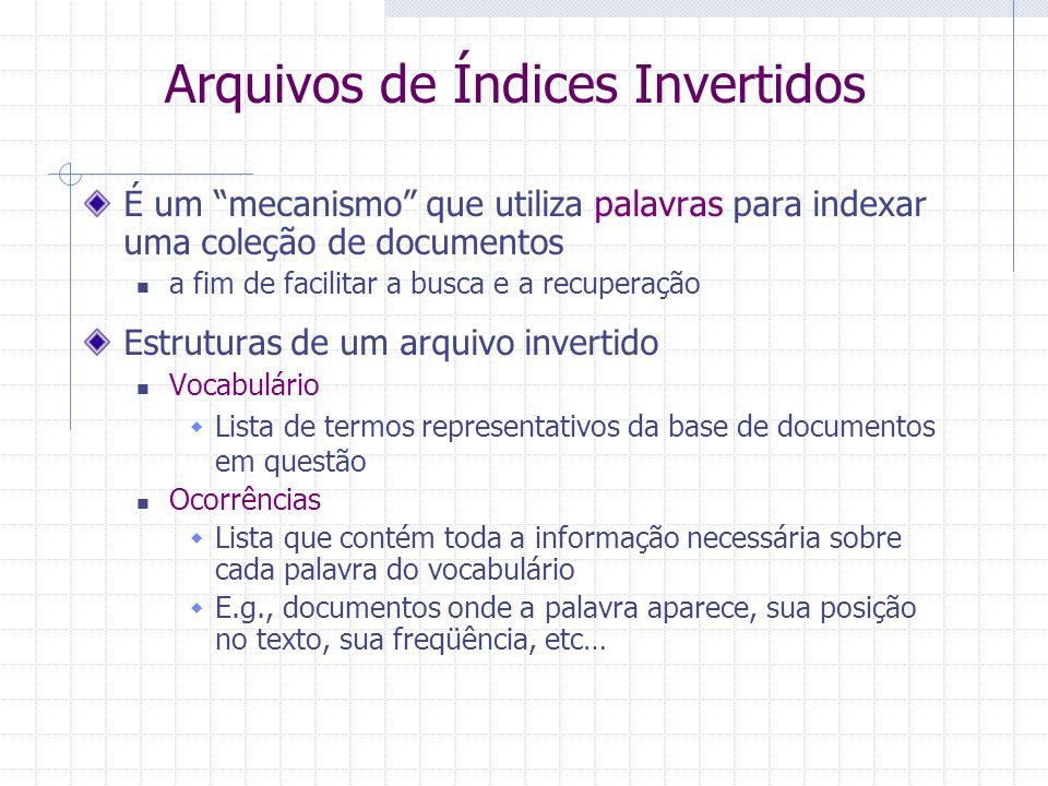 Arquivos de Índices Invertidos
