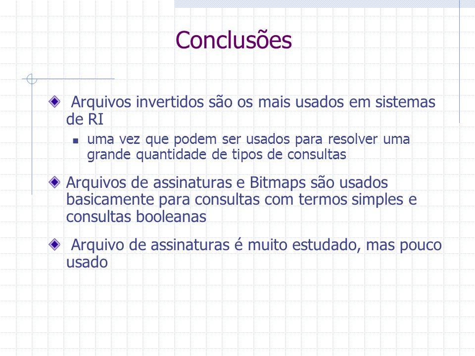 Conclusões Arquivos invertidos são os mais usados em sistemas de RI