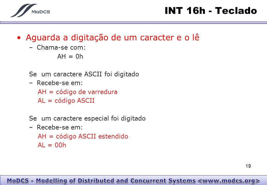 INT 16h - Teclado Aguarda a digitação de um caracter e o lê