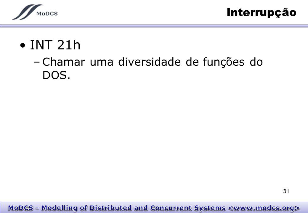Interrupção INT 21h Chamar uma diversidade de funções do DOS.
