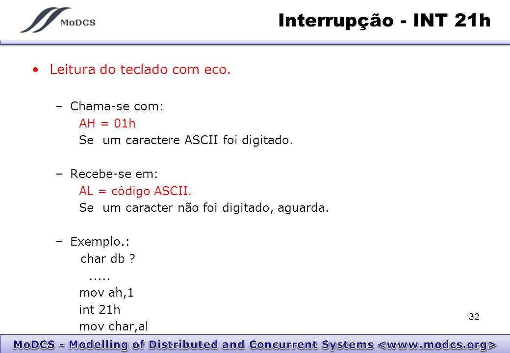 Interrupção - INT 21h Leitura do teclado com eco. Chama-se com: