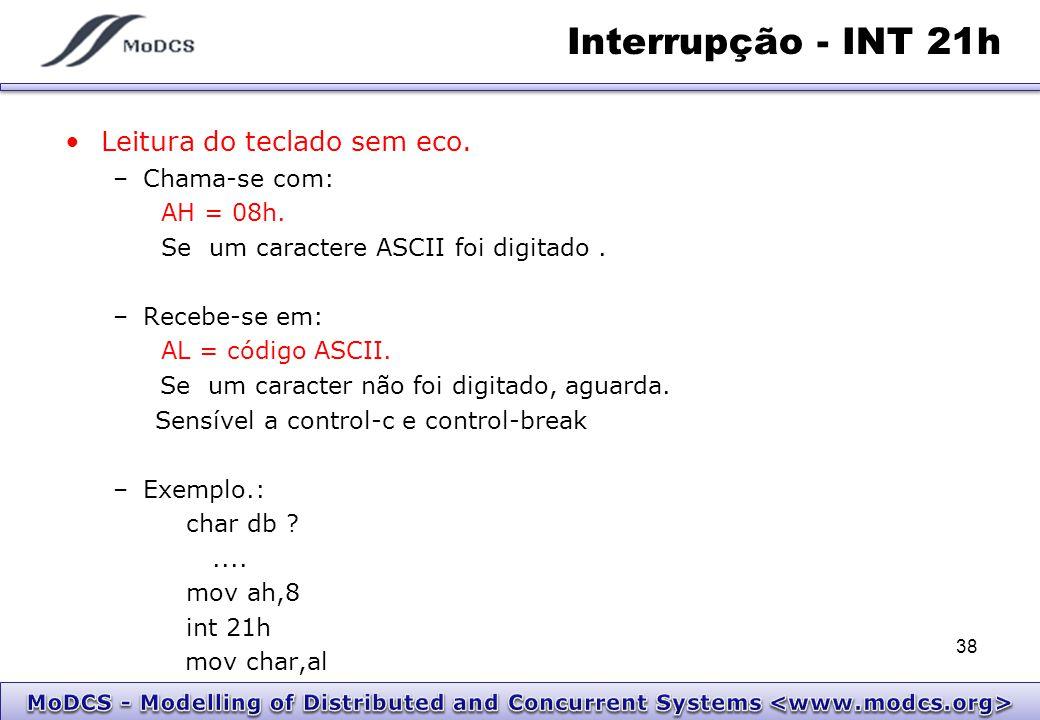 Interrupção - INT 21h Leitura do teclado sem eco. Chama-se com: