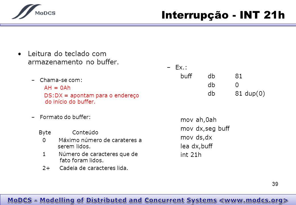 Interrupção - INT 21h Leitura do teclado com armazenamento no buffer.