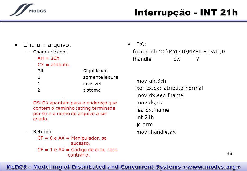 Interrupção - INT 21h Cria um arquivo. EX.: