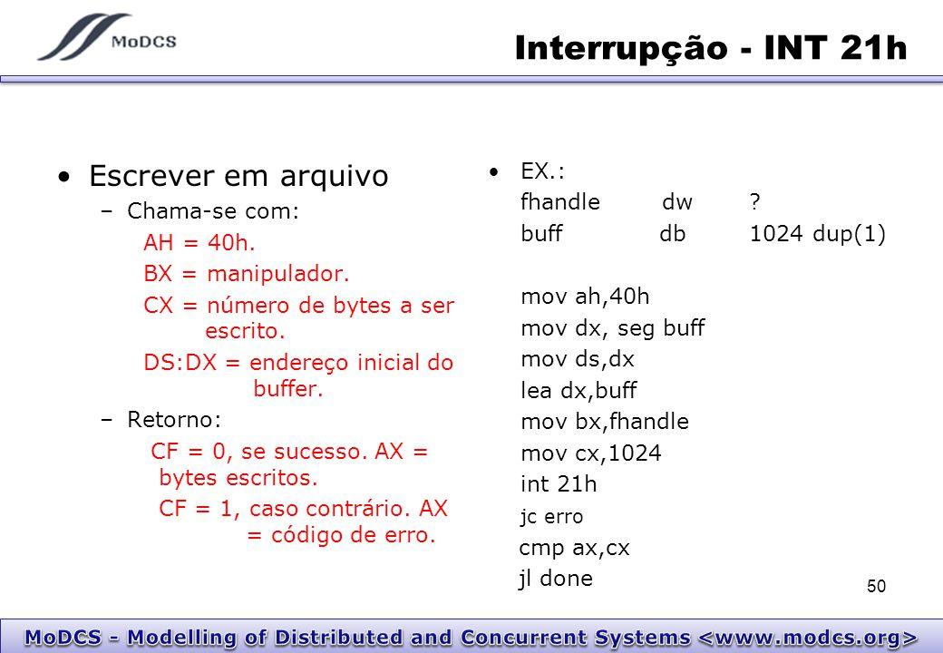 Interrupção - INT 21h Escrever em arquivo EX.: fhandle dw