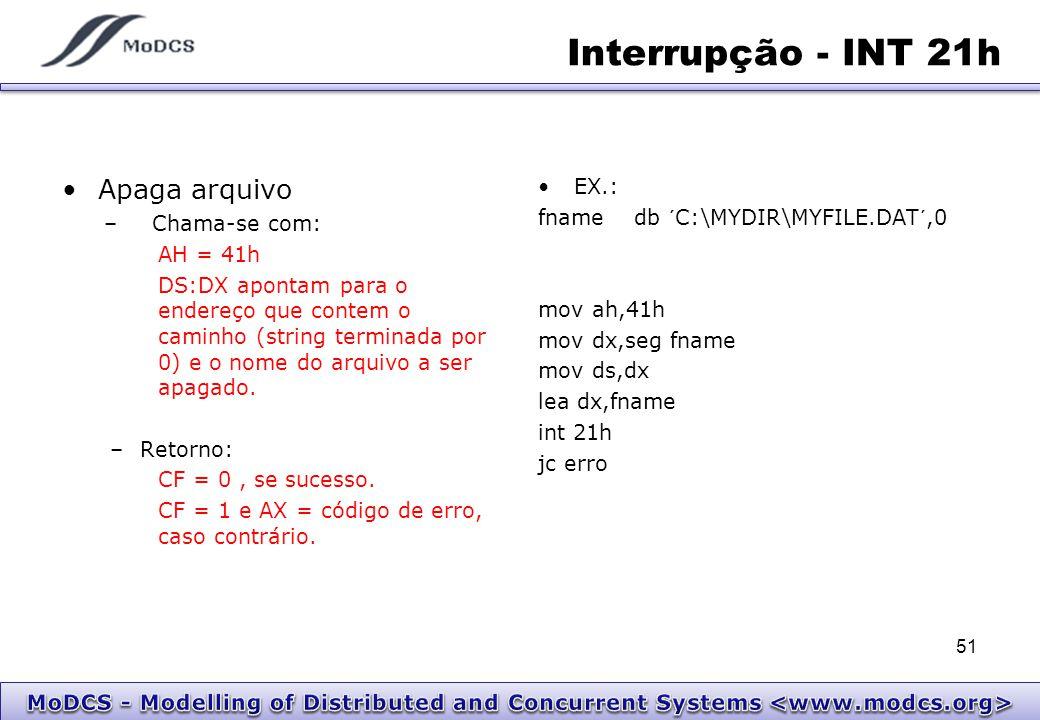 Interrupção - INT 21h Apaga arquivo EX.: