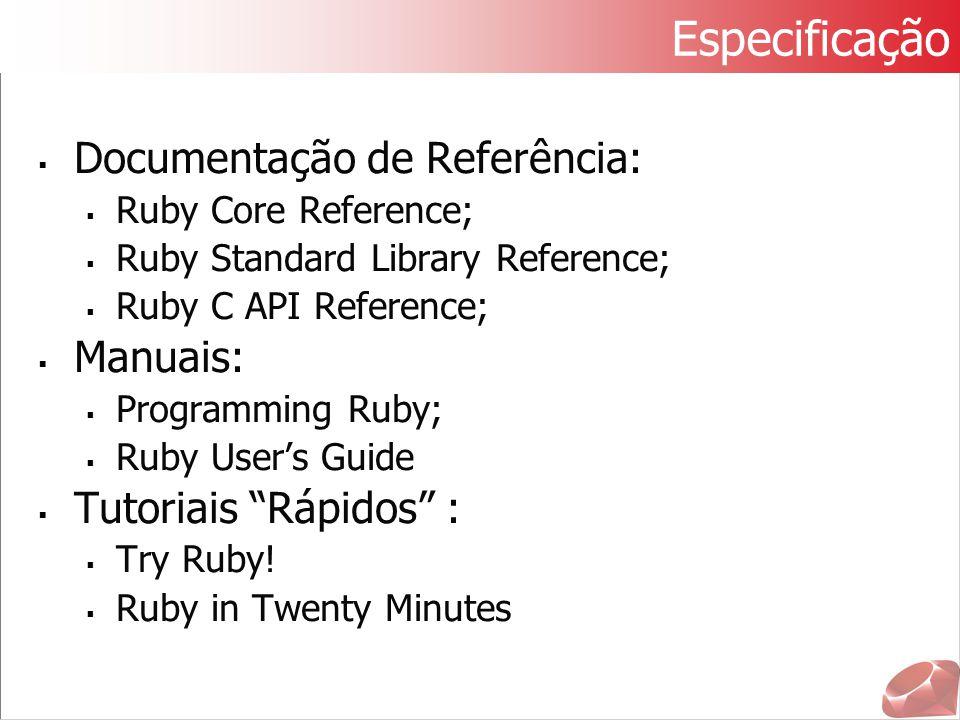 Especificação Documentação de Referência: Manuais: