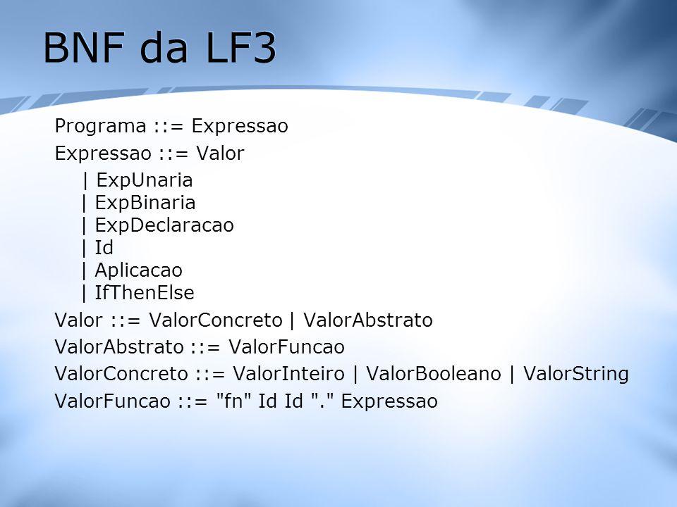 BNF da LF3 Programa ::= Expressao Expressao ::= Valor