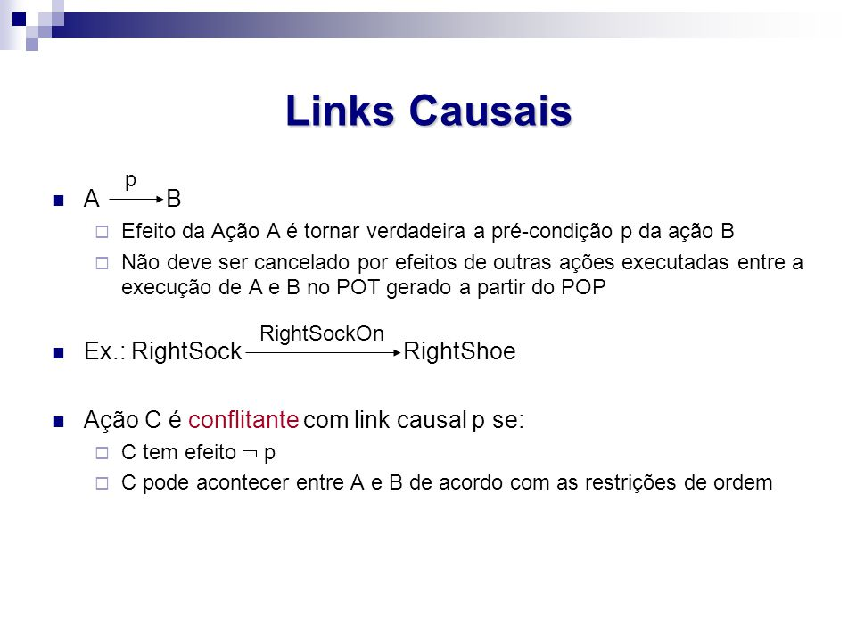 Links Causais A B Ex.: RightSock RightShoe