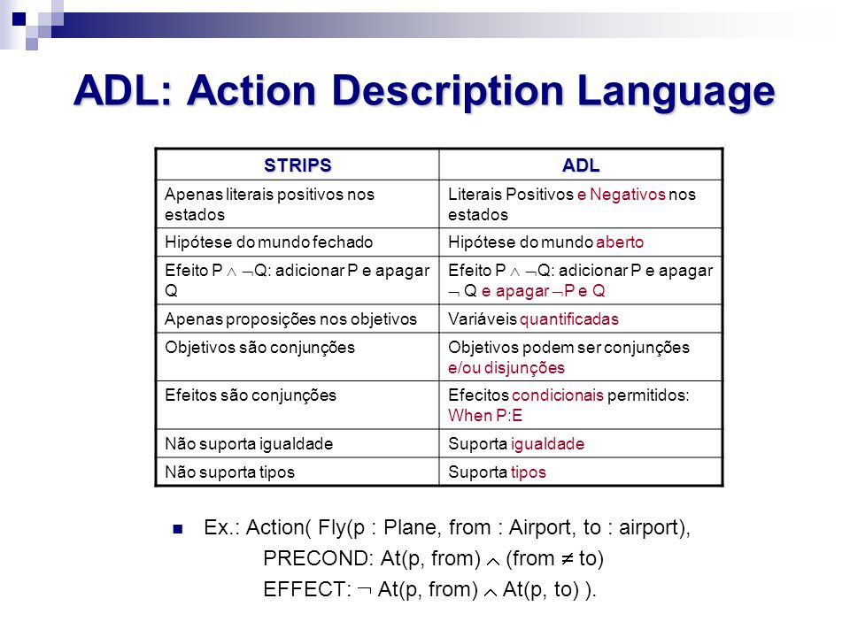 ADL: Action Description Language
