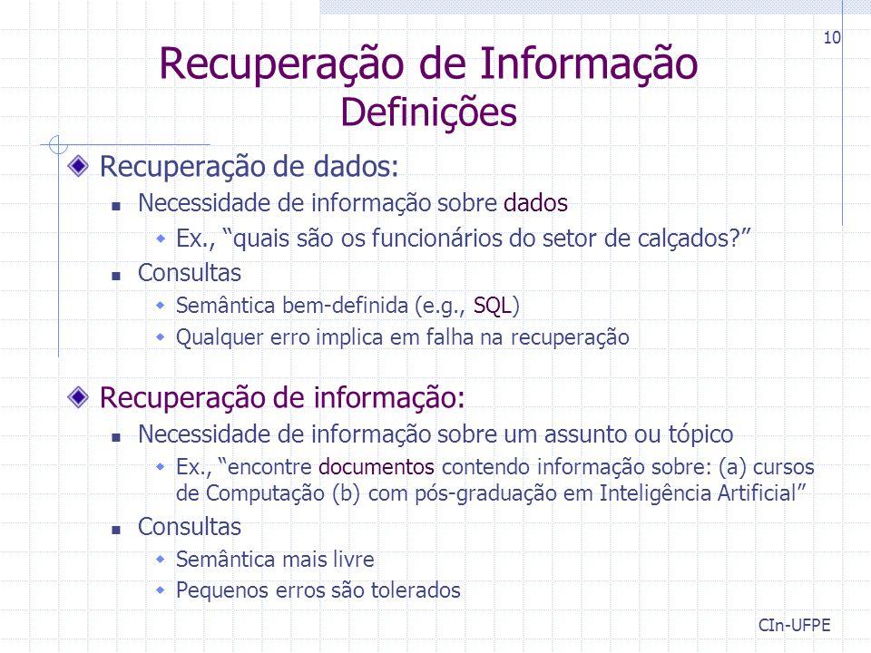 Recuperação de Informação Definições