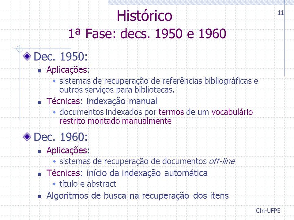 Histórico 1ª Fase: decs. 1950 e 1960