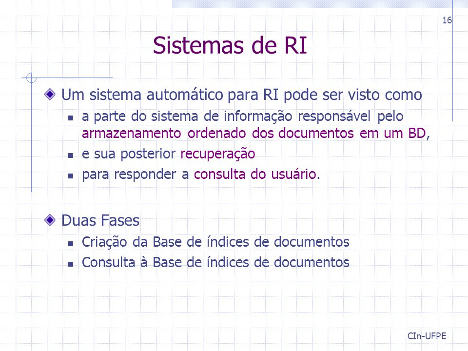 Sistemas de RI Um sistema automático para RI pode ser visto como