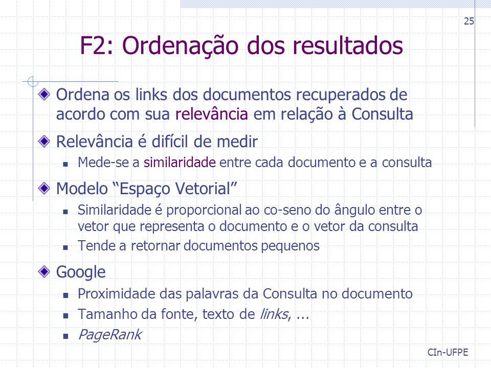F2: Ordenação dos resultados