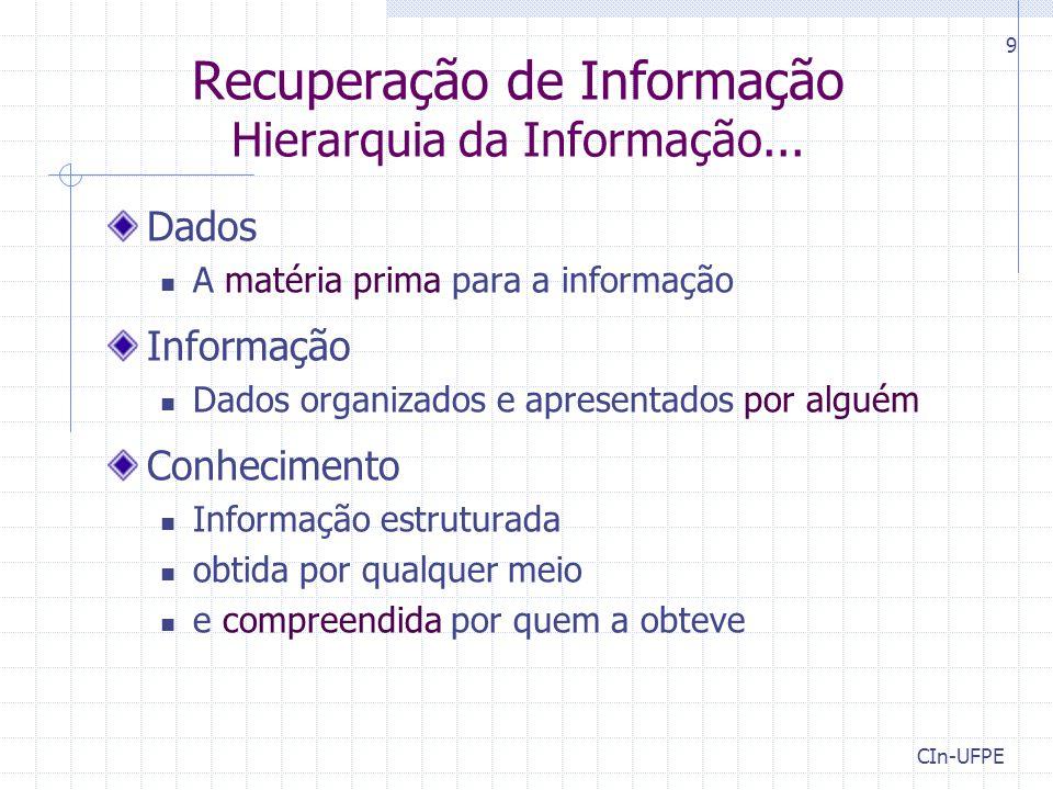 Recuperação de Informação Hierarquia da Informação...
