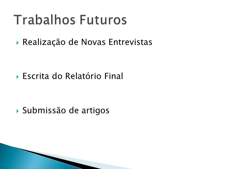 Trabalhos Futuros Realização de Novas Entrevistas