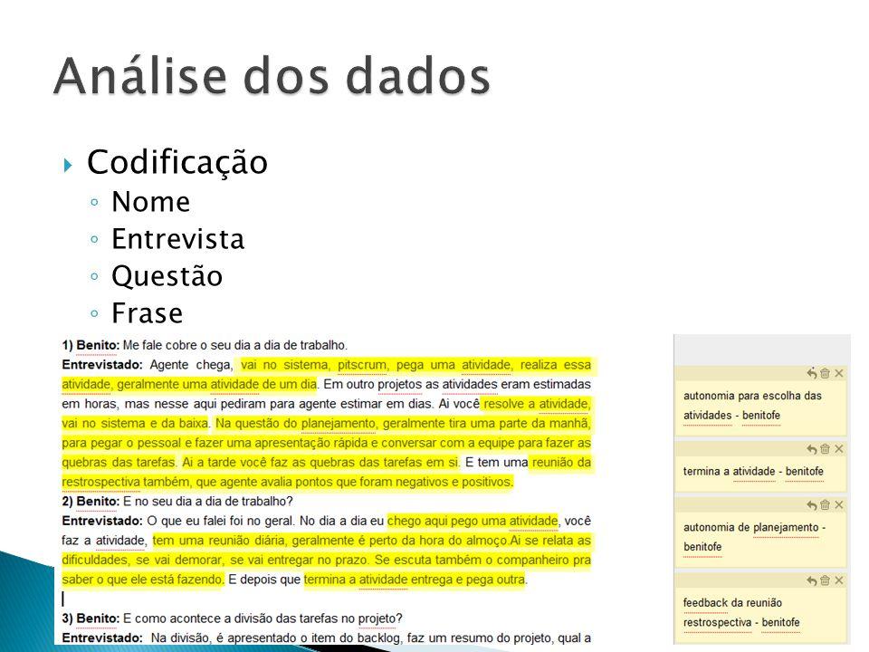 Análise dos dados Codificação Nome Entrevista Questão Frase