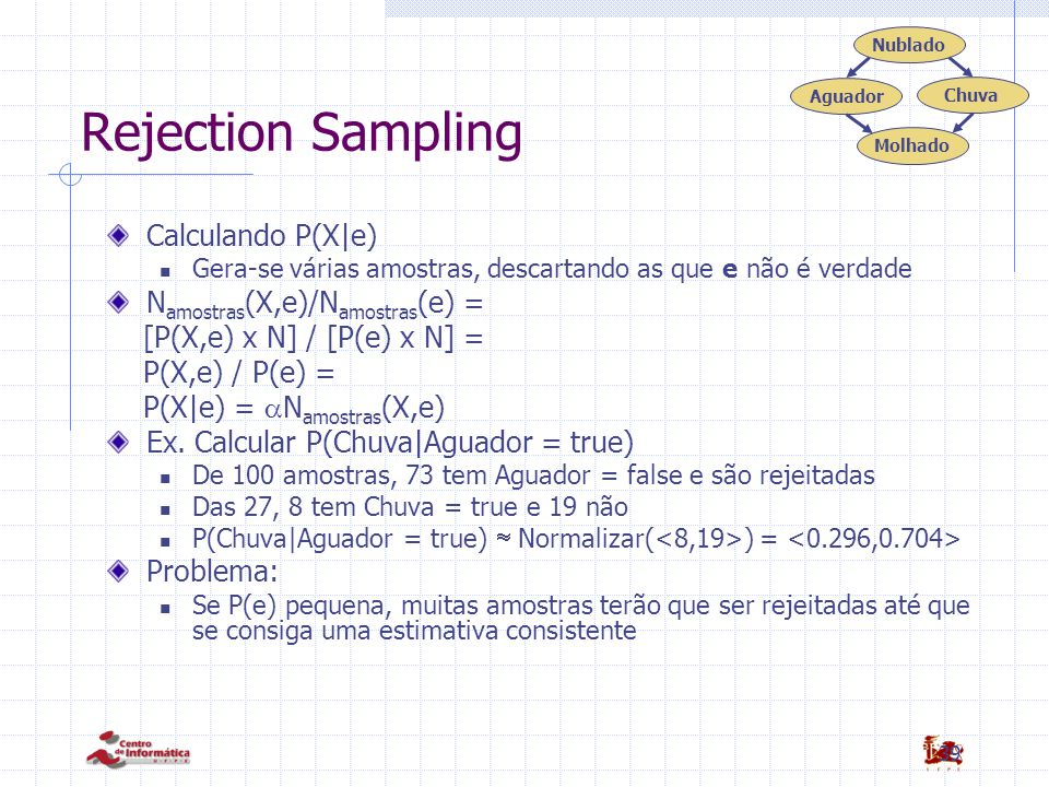 Rejection Sampling Calculando P(X|e) Namostras(X,e)/Namostras(e) =