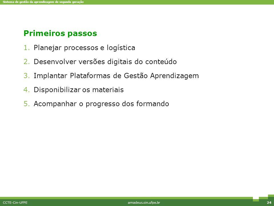Primeiros passos Planejar processos e logística