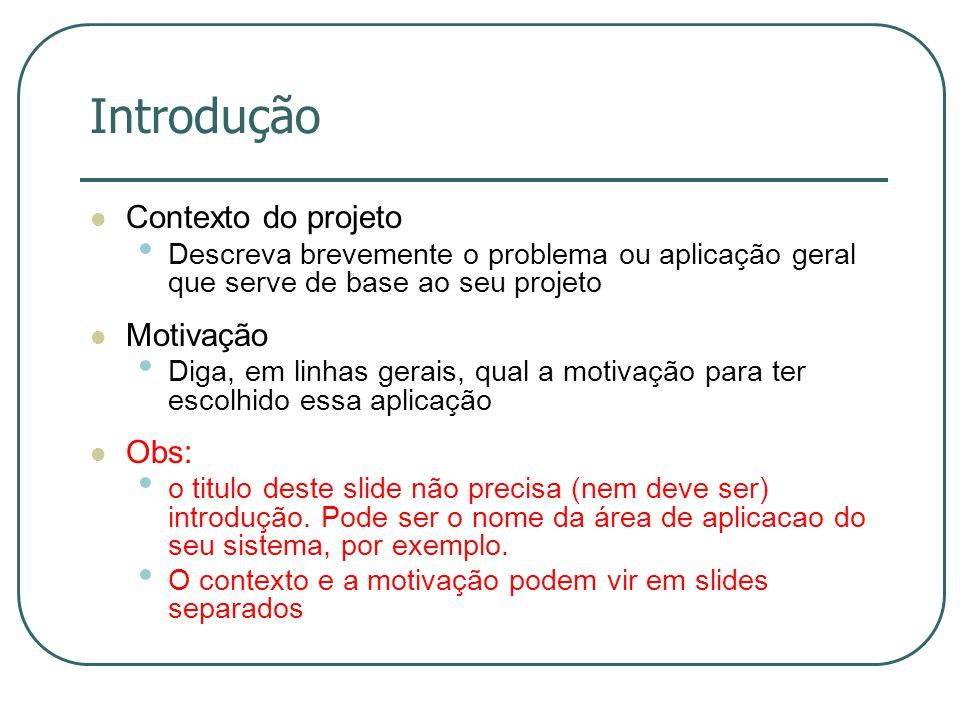Introdução Contexto do projeto Motivação Obs: