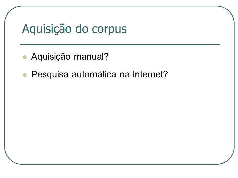 Aquisição do corpus Aquisição manual Pesquisa automática na Internet