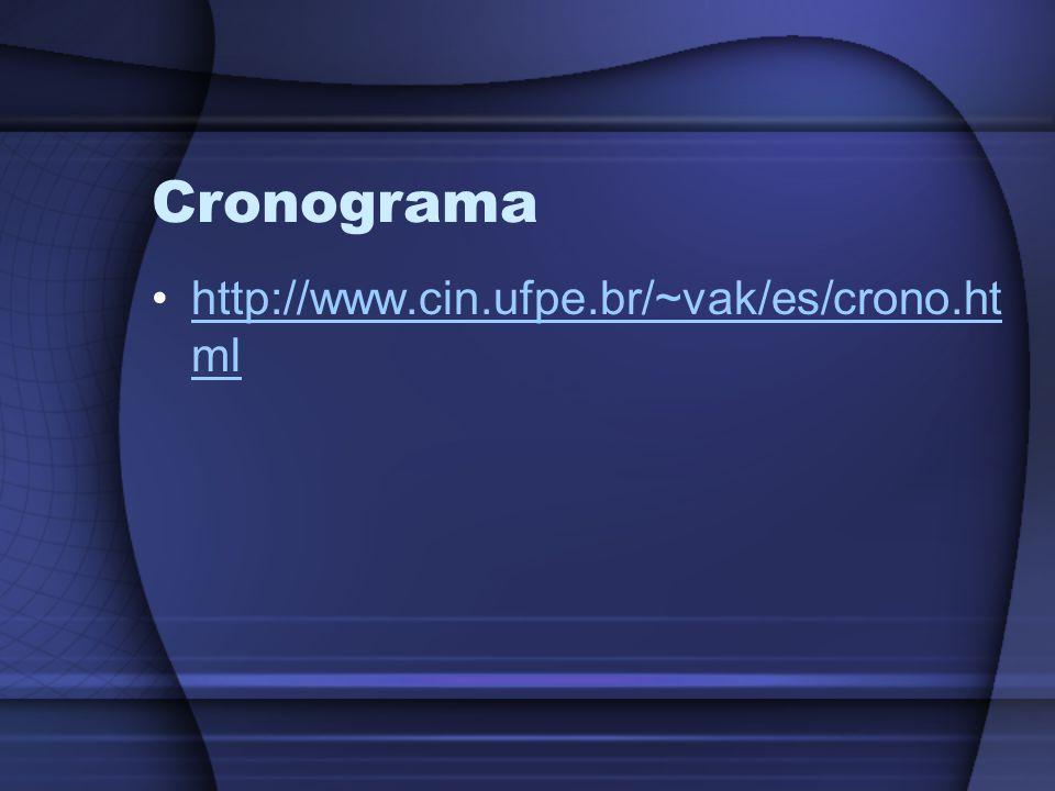 Cronograma http://www.cin.ufpe.br/~vak/es/crono.html