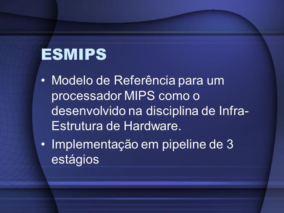 ESMIPS Modelo de Referência para um processador MIPS como o desenvolvido na disciplina de Infra-Estrutura de Hardware.