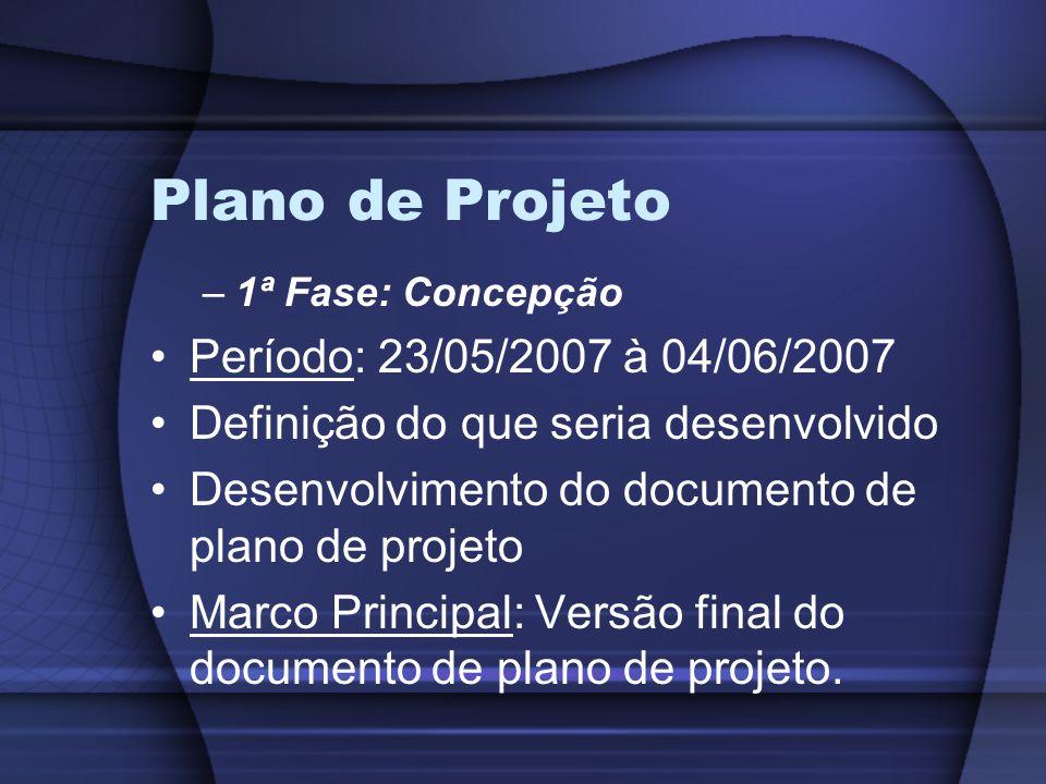 Plano de Projeto Período: 23/05/2007 à 04/06/2007