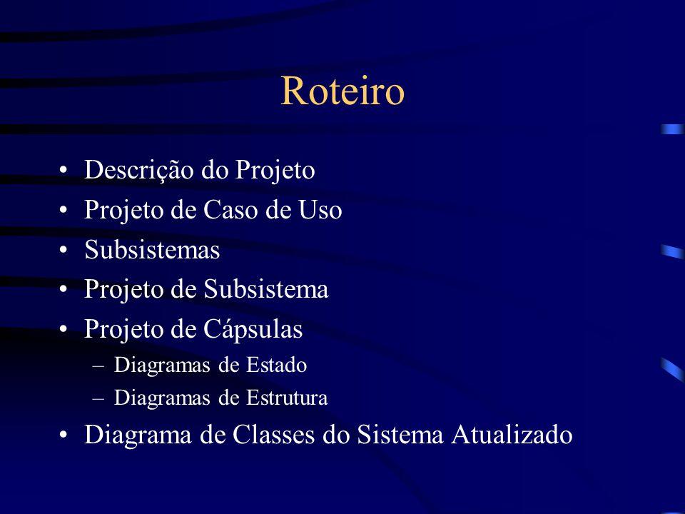 Roteiro Descrição do Projeto Projeto de Caso de Uso Subsistemas