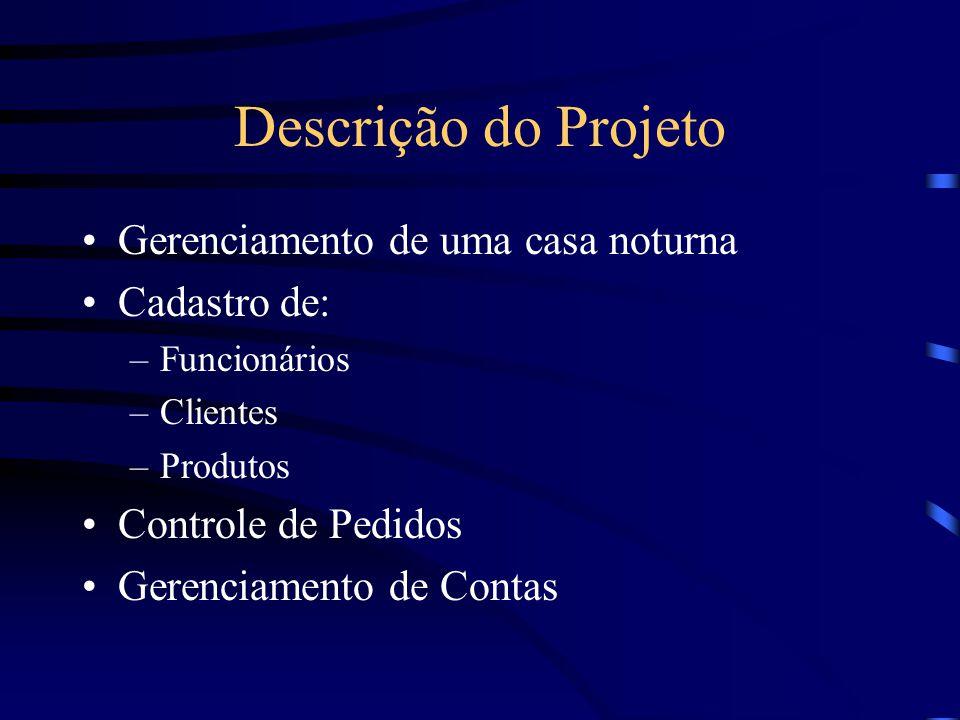 Descrição do Projeto Gerenciamento de uma casa noturna Cadastro de: