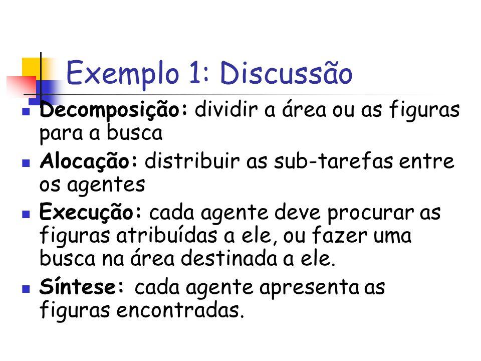 Exemplo 1: Discussão Decomposição: dividir a área ou as figuras para a busca. Alocação: distribuir as sub-tarefas entre os agentes.