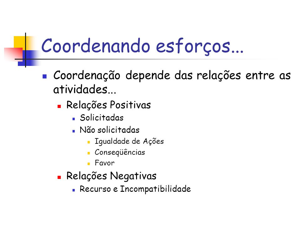 Coordenando esforços... Coordenação depende das relações entre as atividades... Relações Positivas.