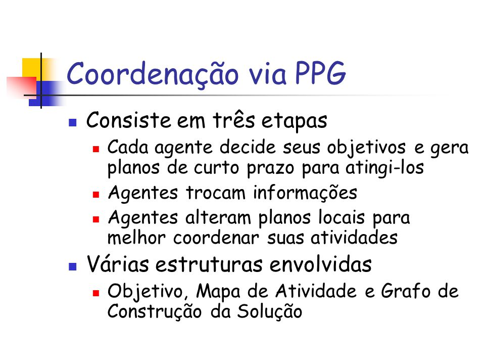 Coordenação via PPG Consiste em três etapas