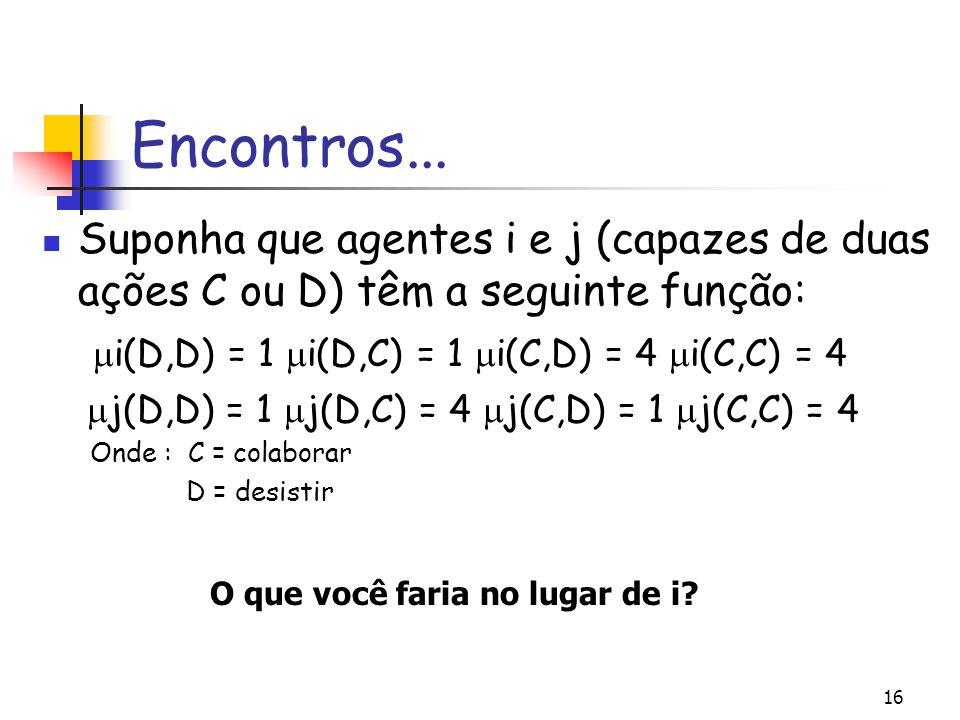 Encontros... Suponha que agentes i e j (capazes de duas ações C ou D) têm a seguinte função: i(D,D) = 1 i(D,C) = 1 i(C,D) = 4 i(C,C) = 4.