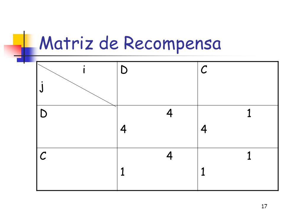 Matriz de Recompensa i j D C 4 1