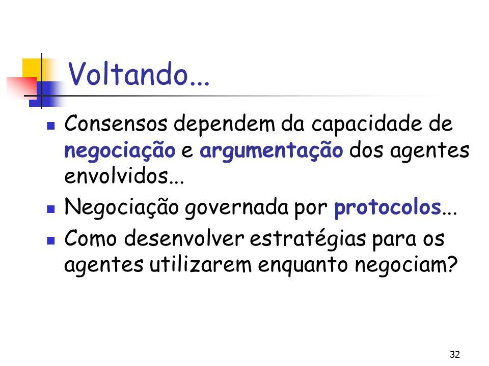 Voltando... Consensos dependem da capacidade de negociação e argumentação dos agentes envolvidos...
