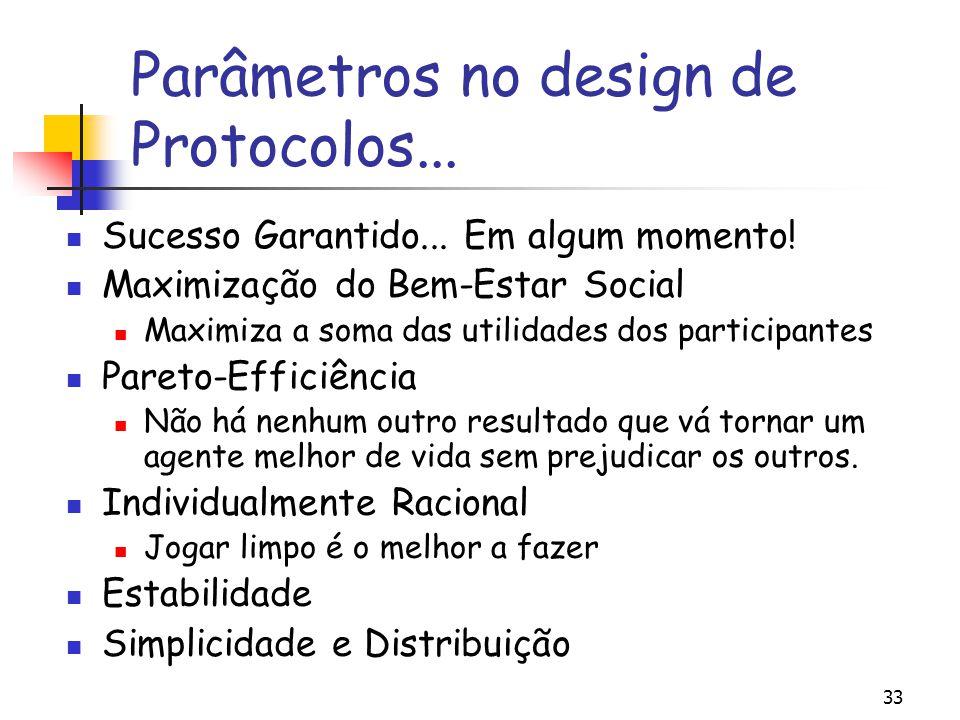 Parâmetros no design de Protocolos...
