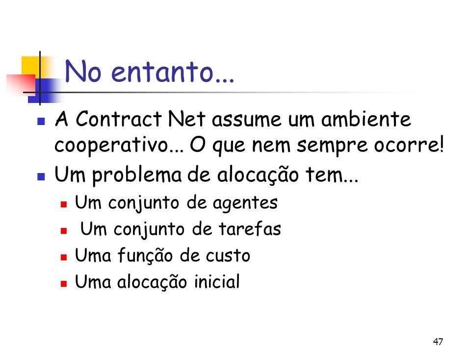 No entanto... A Contract Net assume um ambiente cooperativo... O que nem sempre ocorre! Um problema de alocação tem...