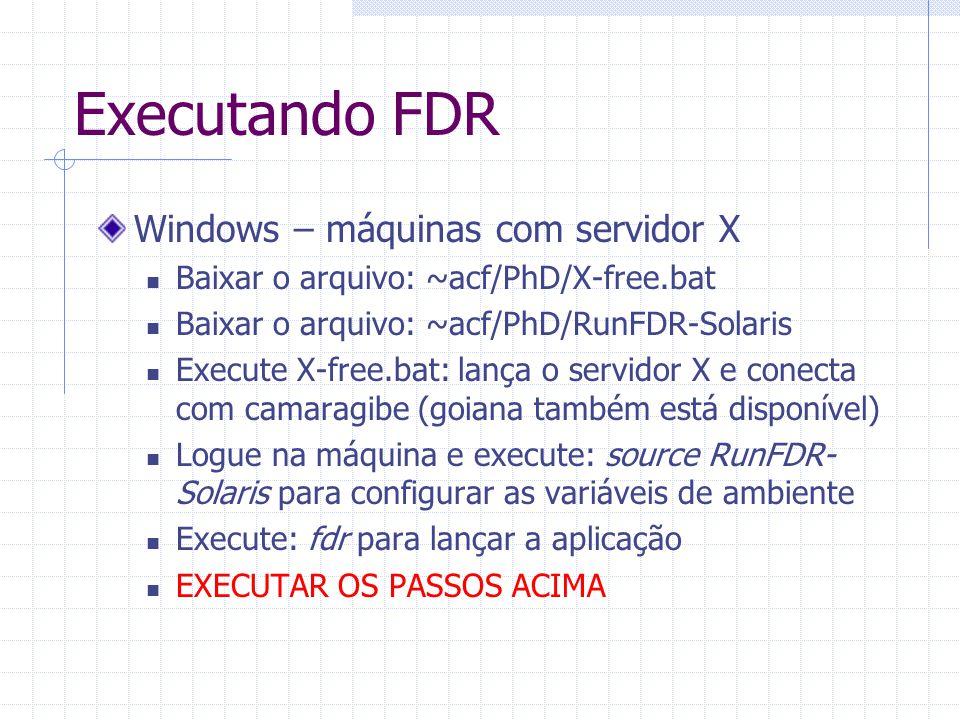 Executando FDR Windows – máquinas com servidor X