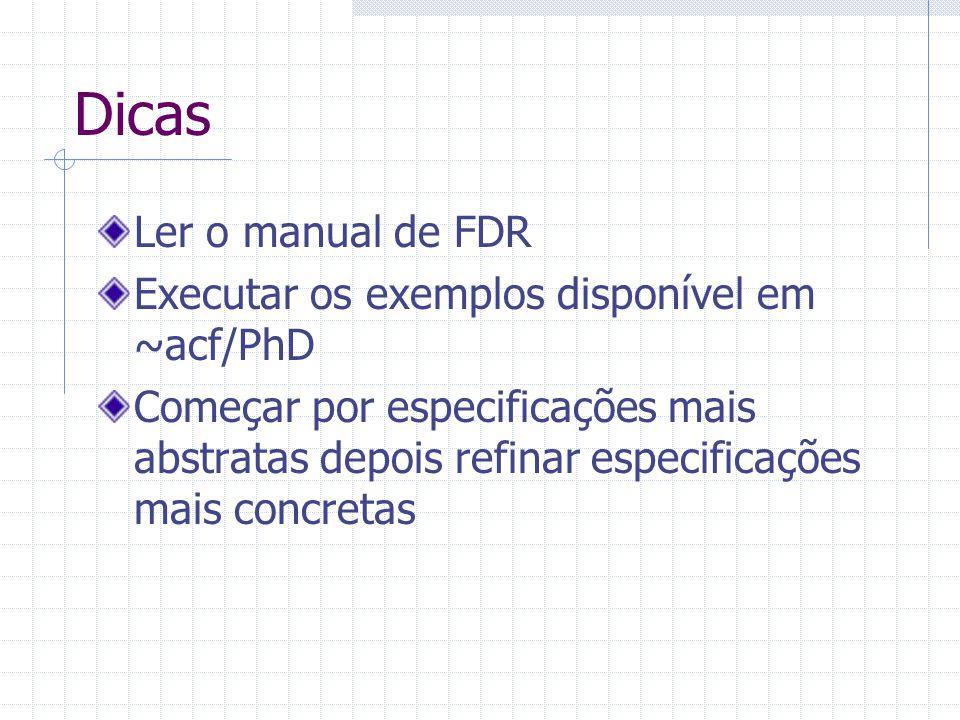 Dicas Ler o manual de FDR Executar os exemplos disponível em ~acf/PhD