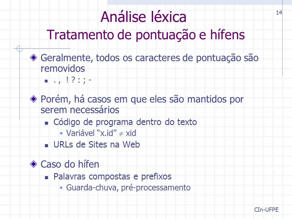 Análise léxica Tratamento de pontuação e hífens